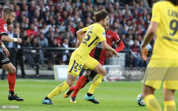 Adrien Rabiot of Paris SaintGermain during in action the French Ligue 1 match between EA Guingamp and Paris Saint Germain at Stade du Roudourou on...