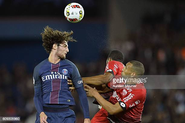 Adrien Rabiot of Paris SaintGermain fights for the ball during the Ligue 1 match between Paris SaintGermain and Dijon FCO at Parc des Princes on...
