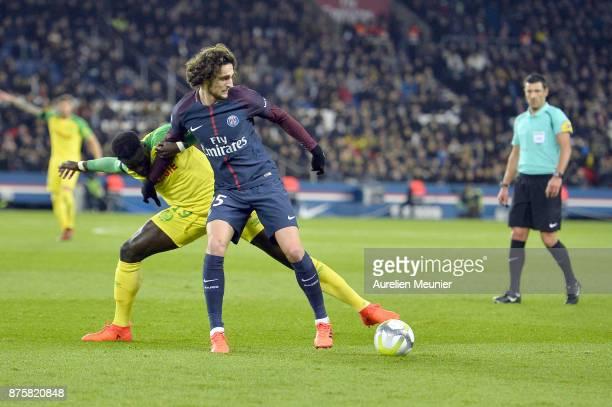 Adrien Rabiot of Paris SaintGermain fights for the ball during the Ligue 1 match between Paris Saint Germain and Nantes at Parc des Princes on...