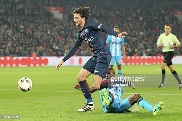 Adrien Rabiot of Paris SaintGermain in action during the French Ligue 1 match between Paris SaintGermain and Olympique de Marseille at Parc des...