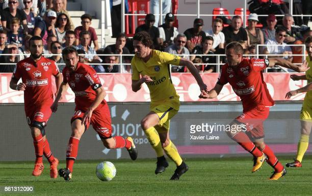 Adrien Rabiot of Paris SaintGermain in action during the Ligue 1 match between Dijon FCO and Paris Saint Germain at Stade GastonGerard on October 14...