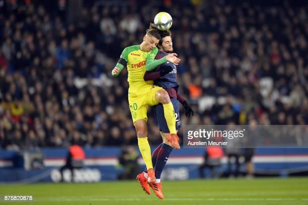 Adrien Rabiot of Paris SaintGermain jumps for the ball during the Ligue 1 match between Paris Saint Germain and Nantes at Parc des Princes on...