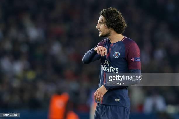 Adrien Rabiot of Paris SaintGermain looks on during the UEFA Champions League group B match between Paris SaintGermain of Paris SaintGermain and...