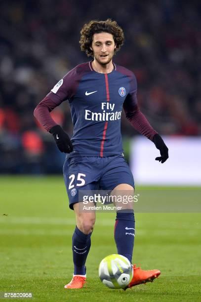 Adrien Rabiot of Paris SaintGermain passes the ball during the Ligue 1 match between Paris Saint Germain and Nantes at Parc des Princes on November...
