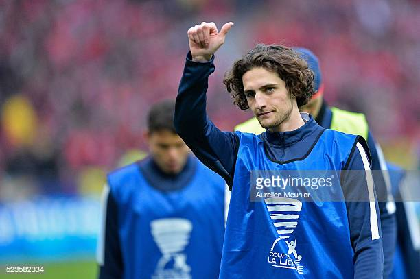 Adrien Rabiot of Paris SaintGermain reacts during warmup before the French Cup Final game between Paris SaintGermain and Llosc Lille at Stade de...