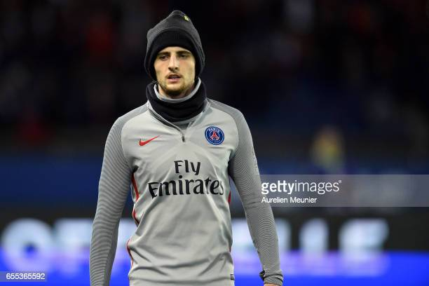 Adrien Rabiot of Paris SaintGermain reacts during warmup before the French Ligue 1 match between Paris Saint Germain and Lyon at Parc des Princes on...