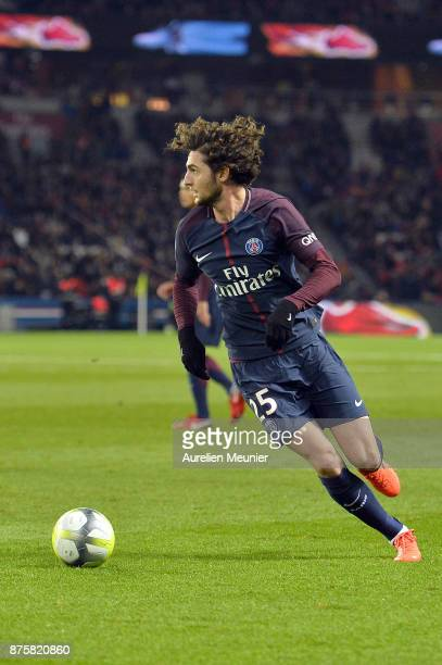 Adrien Rabiot of Paris SaintGermain runs with the ball during the Ligue 1 match between Paris Saint Germain and Nantes at Parc des Princes on...