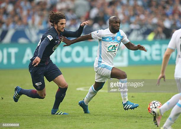 Adrien Rabiot of PSG and Lassana Diarra of OM in action during the French Cup Final match between Paris SaintGermain and Olympique de Marseille at...