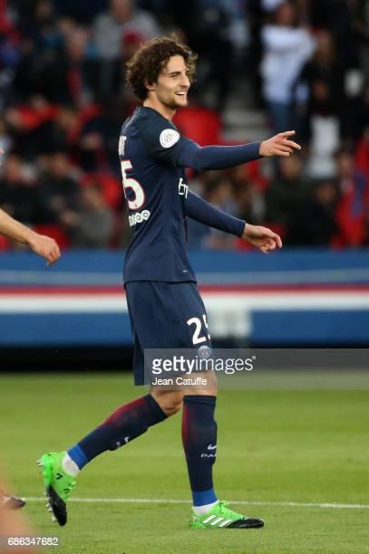 Adrien Rabiot of PSG celebrates his goal during the French League 1 match between Paris SaintGermain and Stade Malherbe de Caen at Parc des Princes...