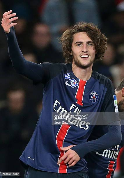 Adrien Rabiot of PSG celebrates his goal during the French League Cup match between Paris SaintGermain and Olympique Lyonnais at Parc des Princes...