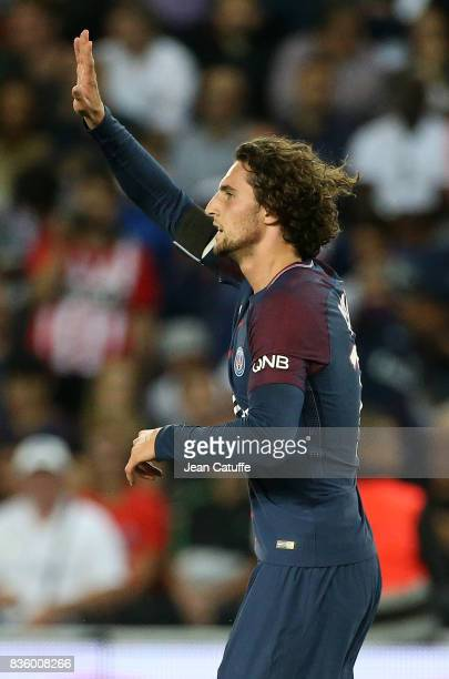 Adrien Rabiot of PSG celebrates his goal during the French Ligue 1 match between Paris Saint Germain and Toulouse FC at Parc des Princes on August 20...