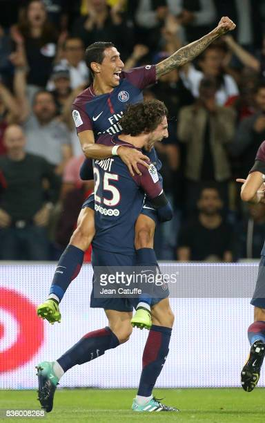 Adrien Rabiot of PSG celebrates his goal with Angel Di Maria during the French Ligue 1 match between Paris Saint Germain and Toulouse FC at Parc des...