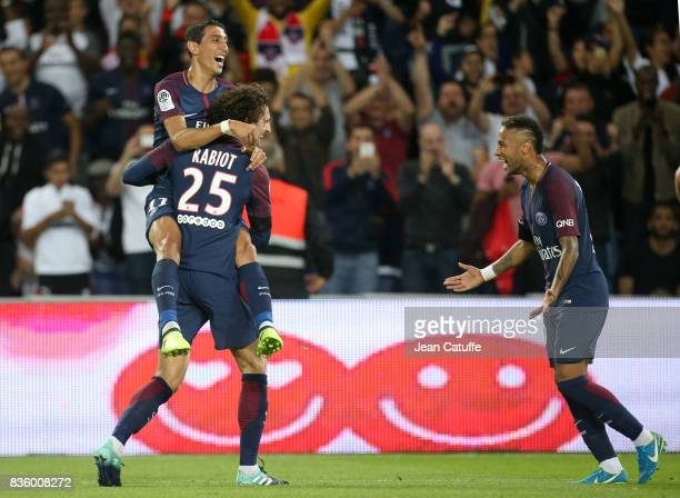 Adrien Rabiot of PSG celebrates his goal with Angel Di Maria Neymar Jr during the French Ligue 1 match between Paris Saint Germain and Toulouse FC at...