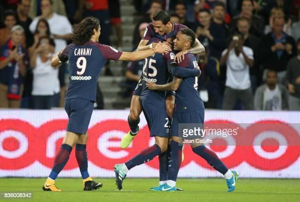 Adrien Rabiot of PSG celebrates his goal with Edinson Cavani Angel Di Maria Neymar Jr during the French Ligue 1 match between Paris Saint Germain and...