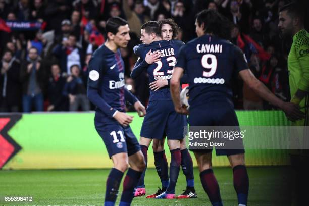 Adrien Rabiot of PSG celebrates his goal with Julian Draxler of PSG during the French Ligue 1 match between Paris Saint Germain and Lyon at Parc des...