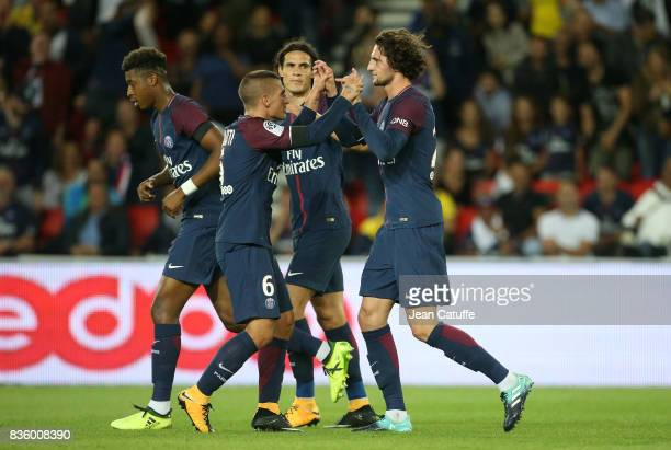 Adrien Rabiot of PSG celebrates his goal with Marco Verratti during the French Ligue 1 match between Paris Saint Germain and Toulouse FC at Parc des...