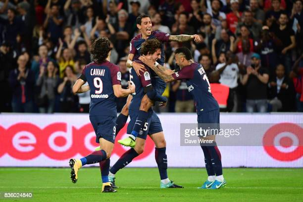 Adrien Rabiot of PSG celebrates putting his side 21 ahead during the Ligue 1 match between Paris Saint Germain and Toulouse at Parc des Princes on...