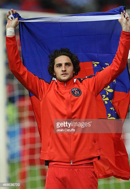 Adrien Rabiot of PSG celebrates the victory after the French League Cup final between Paris SaintGermain FC and Sporting Club de Bastia at Stade de...