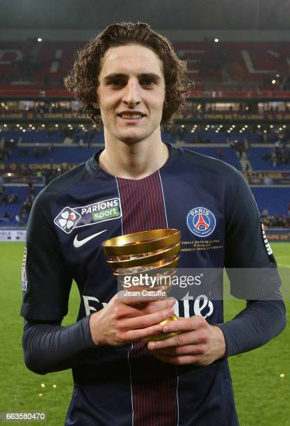 Adrien Rabiot of PSG celebrates the victory following the French League Cup final between Paris SaintGermain and AS Monaco at Parc OL on April 1 2017...