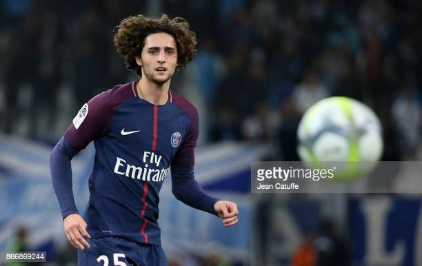 Adrien Rabiot of PSG during the French Ligue 1 match between Olympique de Marseille and Paris Saint Germain at Stade Velodrome on October 22 2017 in...