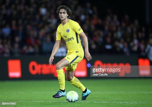 Adrien Rabiot of PSG during the French Ligue 1 match between En Avant Guingamp and Paris Saint Germain at Stade de Roudourou on August 13 2017 in...
