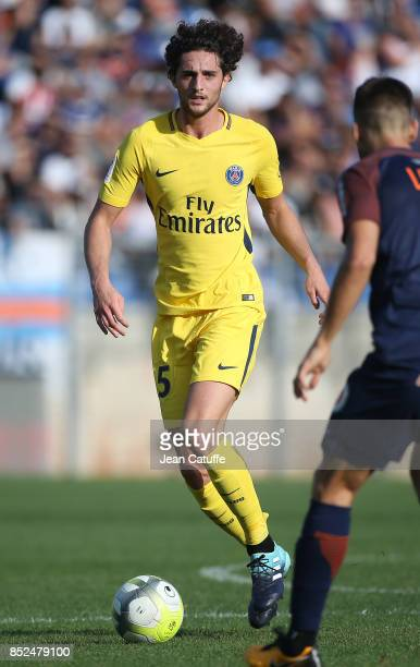 Adrien Rabiot of PSG during the French Ligue 1 match between Montpellier Herault SC and Paris Saint Germain at Stade de la Mosson on September 23...