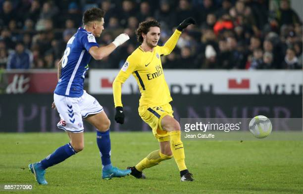 Adrien Rabiot of PSG during the French Ligue 1 match between RC Strasbourg Alsace and Paris Saint Germain at Stade de la Meinau on December 2 2017 in...