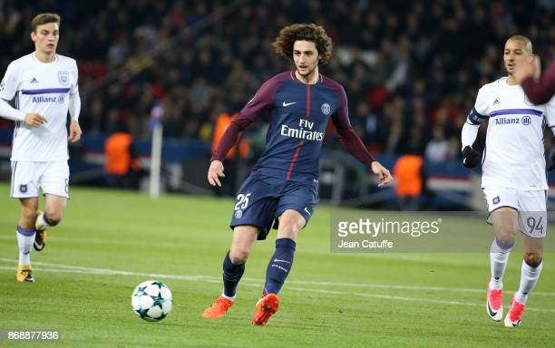 Adrien Rabiot of PSG during the UEFA Champions League group B match between Paris SaintGermain and RSC Anderlecht at Parc des Princes on October 31...