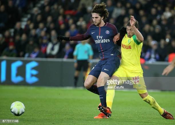 Adrien Rabiot of PSG Emiliano Sala of FC Nantes during the French Ligue 1 match between Paris Saint Germain and FC Nantes at Parc des Princes stadium...