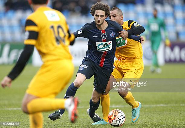 Adrien Rabiot of PSG in action during the French Cup match between ES Wasquehal and Paris SaintGermain at Stadium Lille Metropole on January 3 2016...