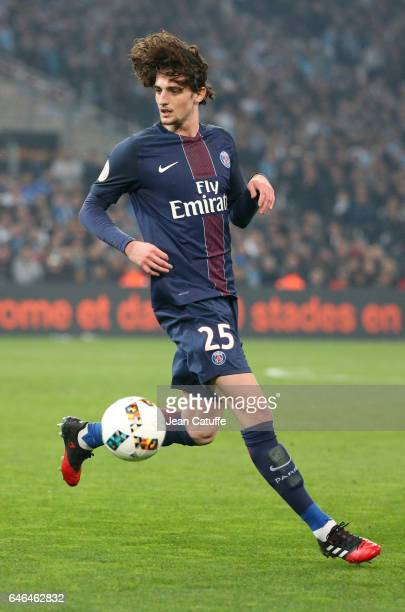Adrien Rabiot of PSG in action during the French Ligue 1 match between Olympique de Marseille and Paris Saint Germain at Stade Velodrome on February...