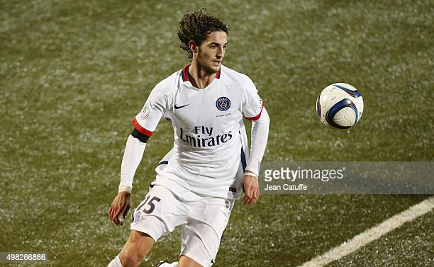 Adrien Rabiot of PSG in action during the French Ligue 1 match between FC Lorient and Paris SaintGermain at Stade du Moustoir on November 21 2015 in...