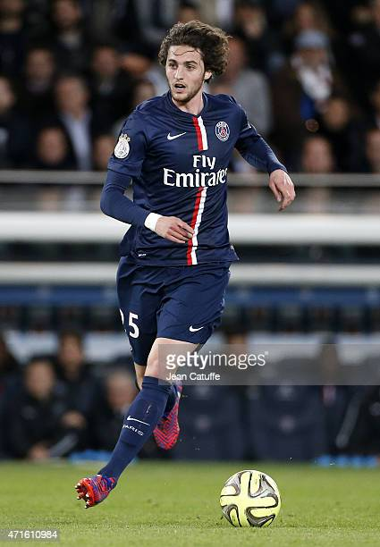 Adrien Rabiot of PSG in action during the French Ligue 1 match between Paris SaintGermain and FC Metz at Parc des Princes stadium on April 28 2015 in...
