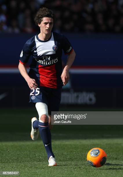 Adrien Rabiot of PSG in action during the french Ligue 1 match between Paris SaintGermain FC and Stade de Reims at Parc des Princes stadium on April...