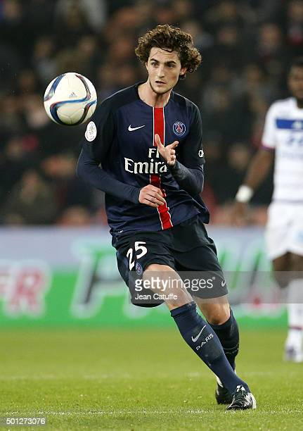 Adrien Rabiot of PSG in action during the French Ligue 1 match between Paris SaintGermain and Olympique Lyonnais at Parc des Princes stadium on...