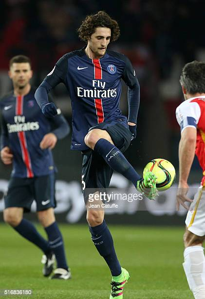 Adrien Rabiot of PSG in action during the French Ligue 1 match between Paris SaintGermain and AS Monaco at Parc des Princes stadium on March 20 2016...