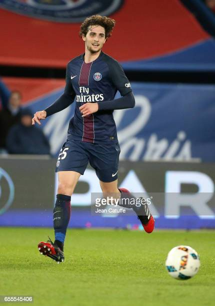 Adrien Rabiot of PSG in action during the French Ligue 1 match between Paris SaintGermain and Olympique Lyonnais at Parc des Princes stadium on March...