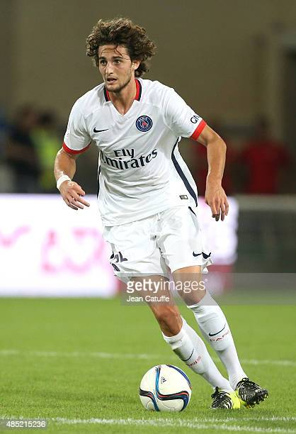 Adrien Rabiot of PSG in action during the French Ligue 1 match between Montpellier Herault SC v Paris SaintGermain at Stade de la Mosson on August 21...
