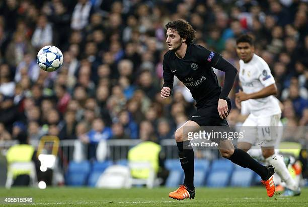 Adrien Rabiot of PSG in action during the UEFA Champions League match between Real Madrid and Paris SaintGermain at Santiago Bernabeu stadium on...