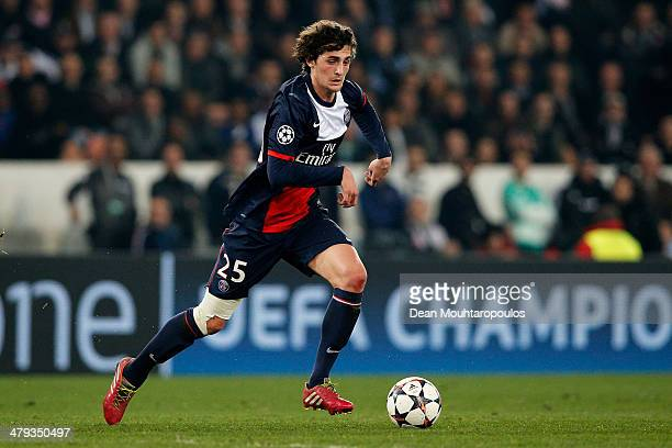 Adrien Rabiot of PSG in action during the UEFA Champions League Round of 16 second leg match between Paris SaintGermain FC and Bayer Leverkusen at...