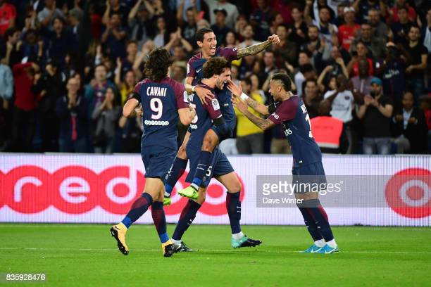 Adrien Rabiot of PSG is congratulatyed by teammates after putting his side 20 ahead during the Ligue 1 match between Paris Saint Germain and Toulouse...