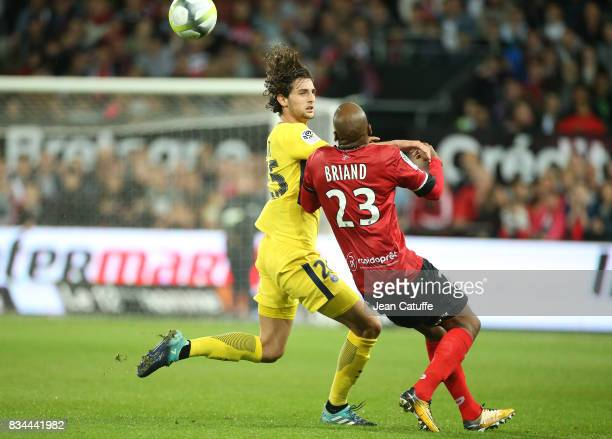 Adrien Rabiot of PSG Jimmy Briand of Guingamp during the French Ligue 1 match between En Avant Guingamp and Paris Saint Germain at Stade de Roudourou...