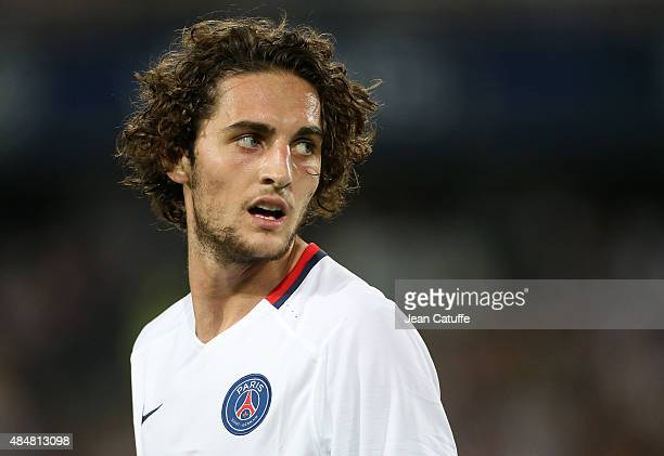 Adrien Rabiot of PSG looks on during the French Ligue 1 match between Montpellier Herault SC v Paris SaintGermain at Stade de la Mosson on August 21...