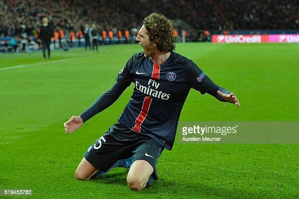Adrien Rabiotc of Paris SaintGermain reacts after scoring during the UEFA Champions League Quarter Final first leg game between Paris SaintGermain...