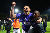 Adrien Regattin of Toulouse celebrates with Somalia after the football french Ligue 1 match between Angers SCO and Toulouse FC on May 14 2016 in...