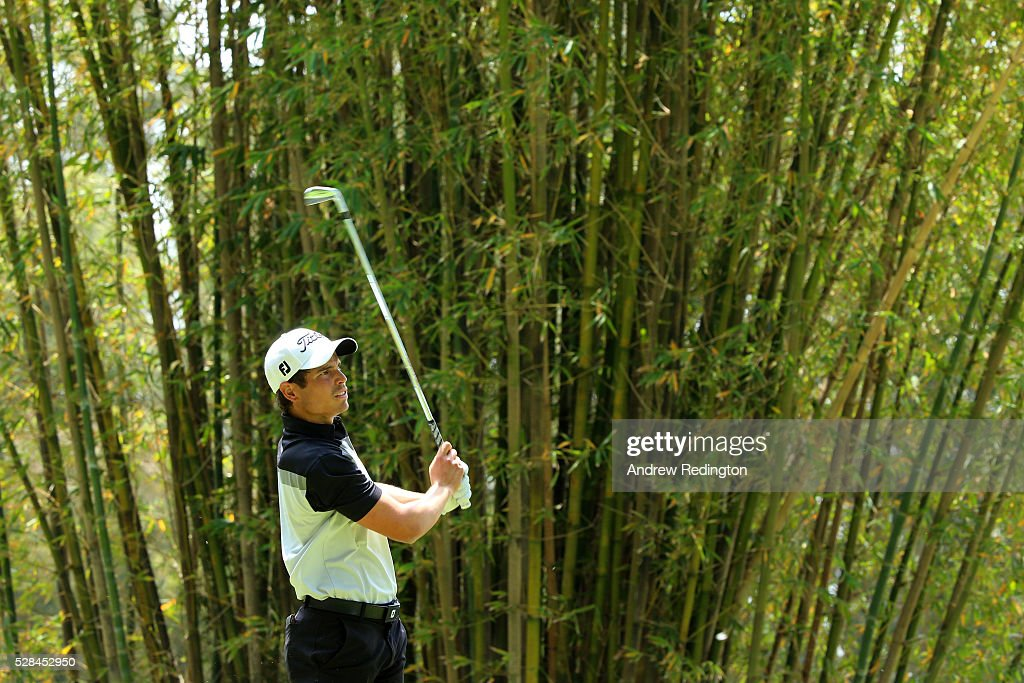 Adrien Saddier of France hits his tee shot on the 17th during the first round of the Trophee Hassan II at Royal Golf Dar Es Salam on May 5, 2016 in Rabat, Morocco.