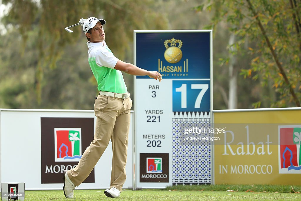 Adrien Saddier of France hits his tee shot on the 17th hole during the second round of the Trophee Hassan II at Royal Golf Dar Es Salam on May 6, 2016 in Rabat, Morocco.