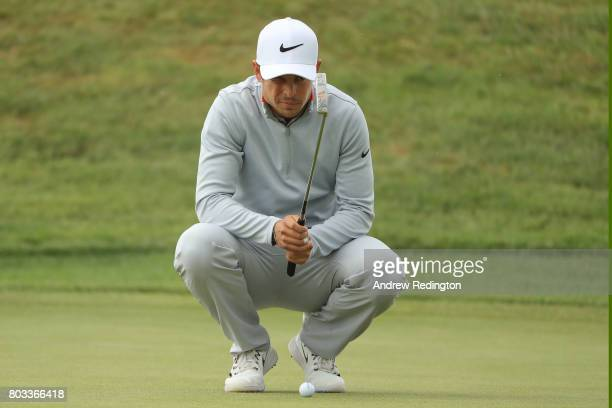 Adrien Saddier of France lines up a putt 12th green during day one of the HNA Open de France at Le Golf National on June 29 2017 in Paris France
