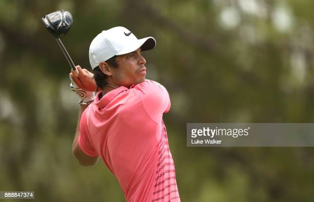 Adrien Saddier of France plays a shot on the 3rd hole during the third day of the Joburg Open at Randpark Golf Club on December 9 2017 in...