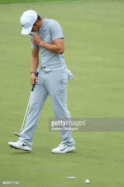 Adrien Saddier of France reacts after a missed putt on the 14th green during day one of the HNA Open de France at Le Golf National on June 29 2017 in...